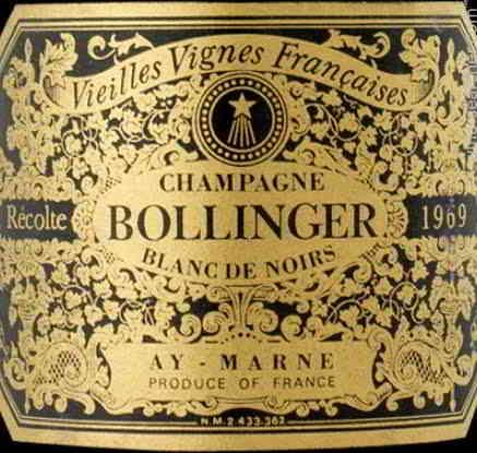 Champagne Bollinger etiquette