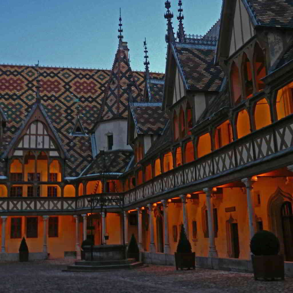 Typical architecture of Beaune, by night