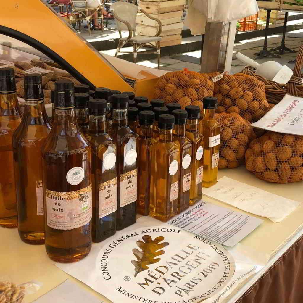 Nut oil in a Périgord market