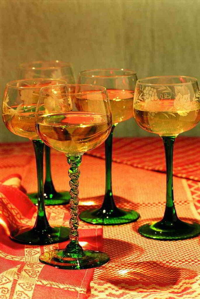 Traditional glasses of Gewürztraminer