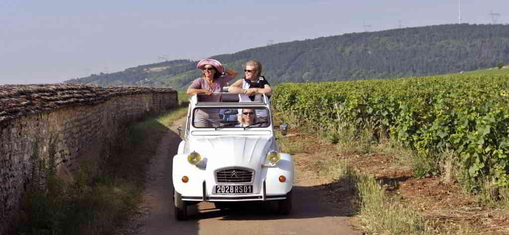 France luxury tours - wine tour in 2cv vintage cars in Burgundy vineyards