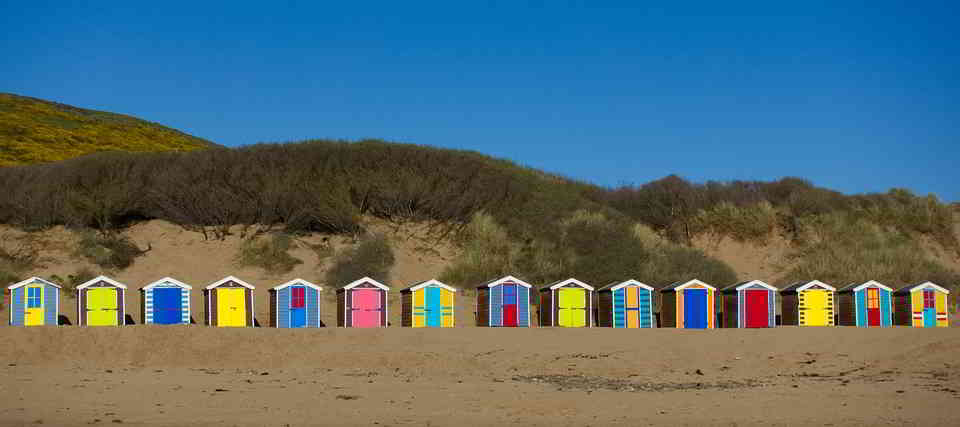 Colorful beach huts in Deauville