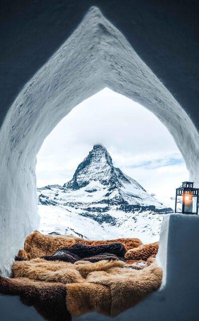 winter snow igloo on the mountain peak
