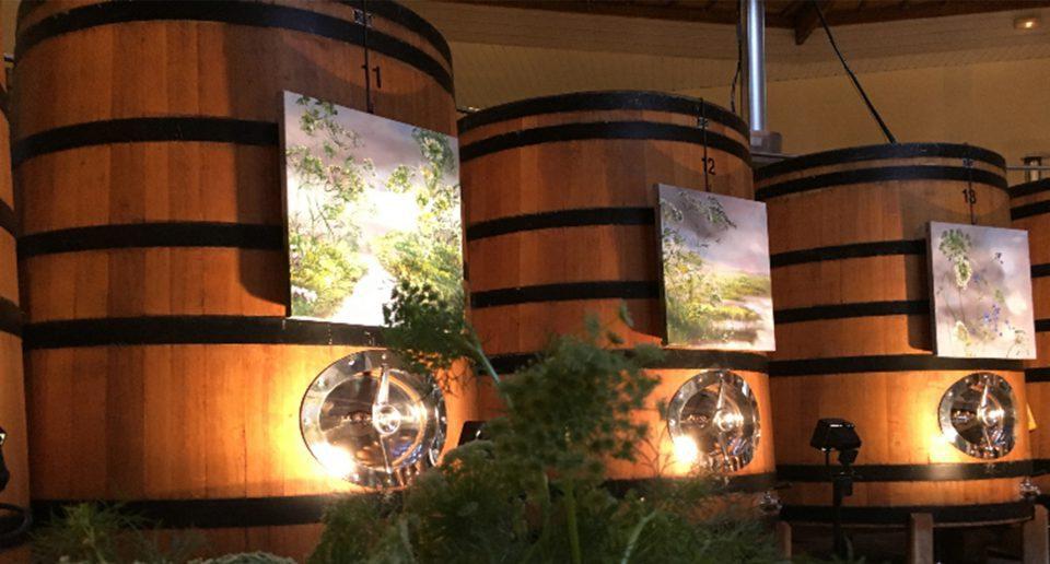 decorative wine barrels art