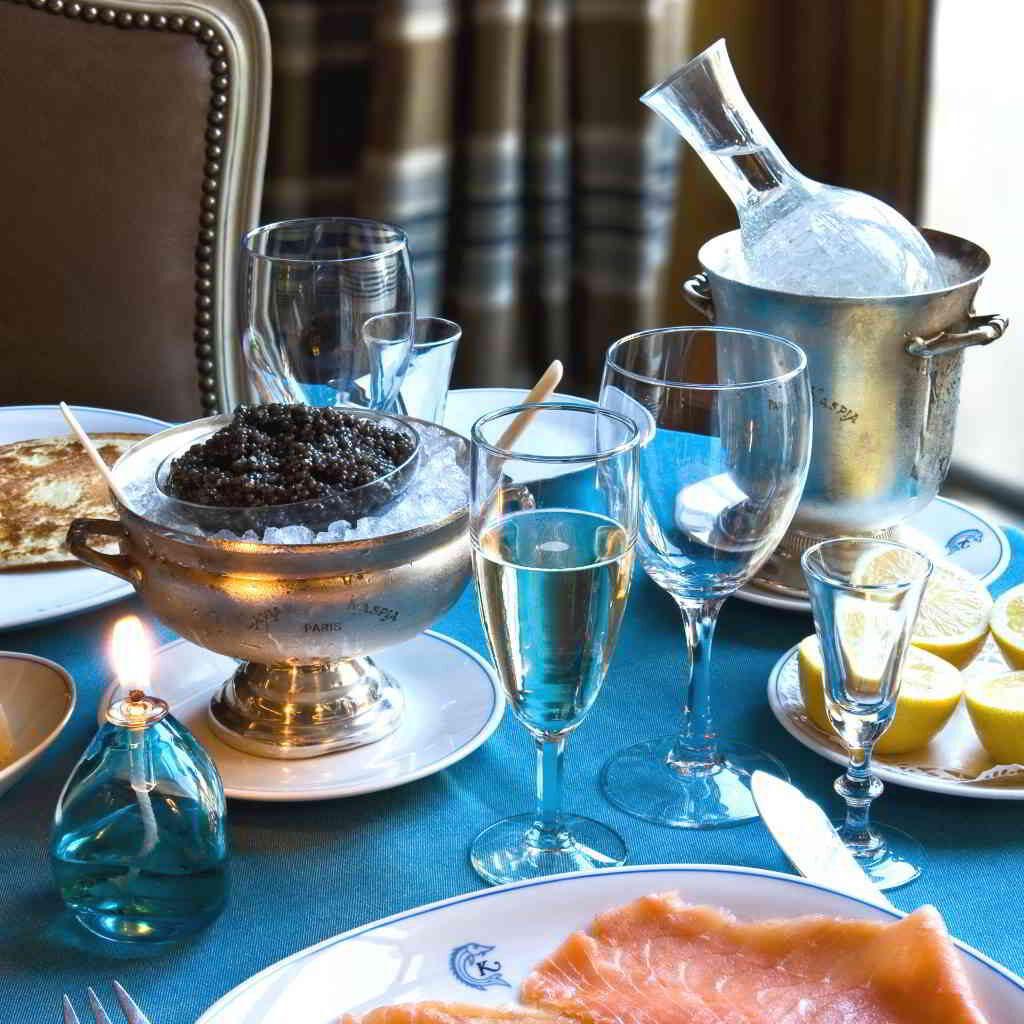 Caviar Kaspia wine champagne