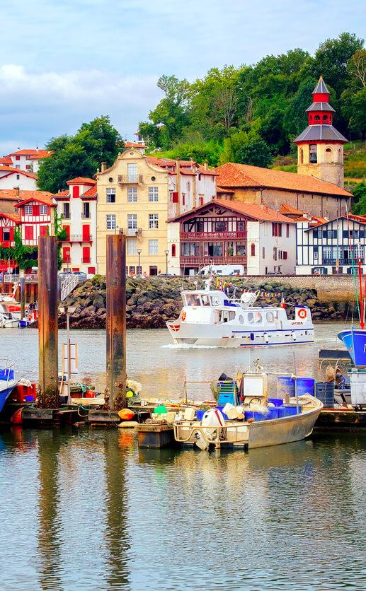 st jean de luz port colorful houses